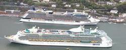 Cruise Liners Celebrity Eclipse and Independence of the Seas pass at Cobh