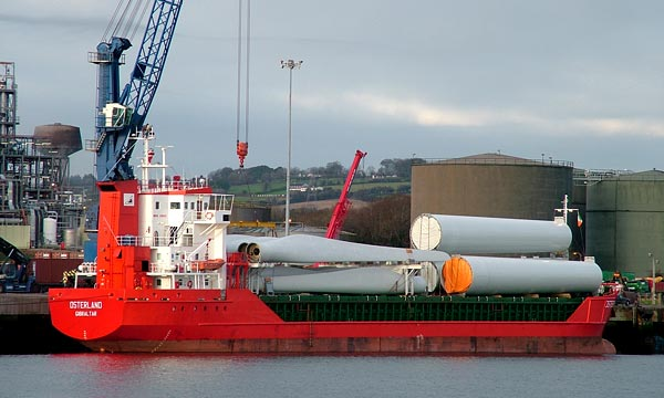 Wind turbines being unloaded