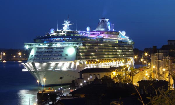 LIner at Cobh at night